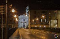 chiesa di san francesco vista di notte a Pescia