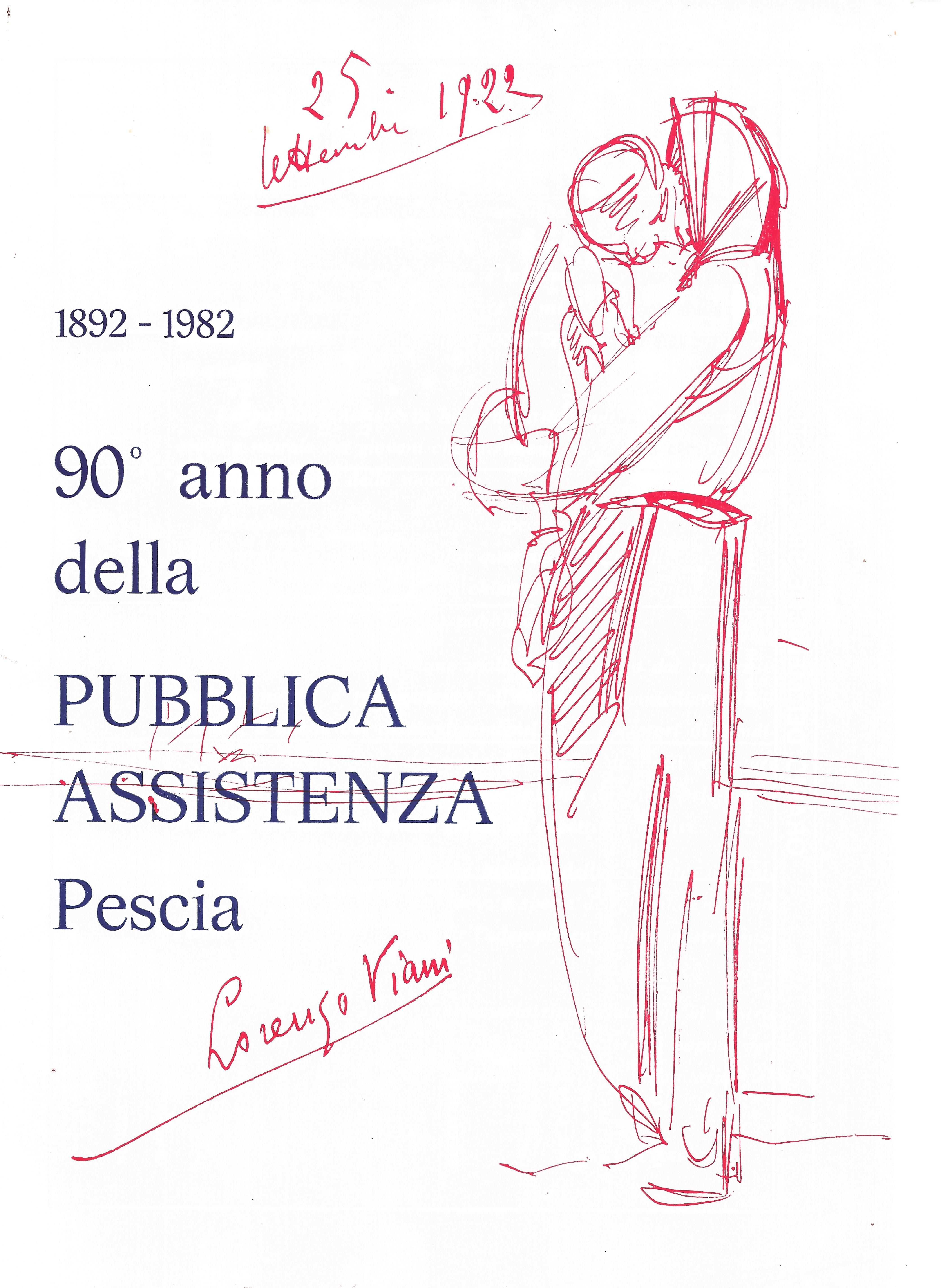 locandina 90 anni anniversario disegno viani pubblica assistenza pescia