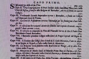 """Un testo di """"Memorie """" del 1707 , edito a Bologna, dedica molte pagine alla confluenza della Congregazione della """"Nunziata"""" di Pescia nei Barnabiti."""