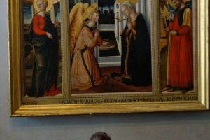 """tavola di Neri di Bicci (1418-1492), """"Annunciazione tra i Santi Apollonia e Luca"""" nuovo museo civico pescia"""