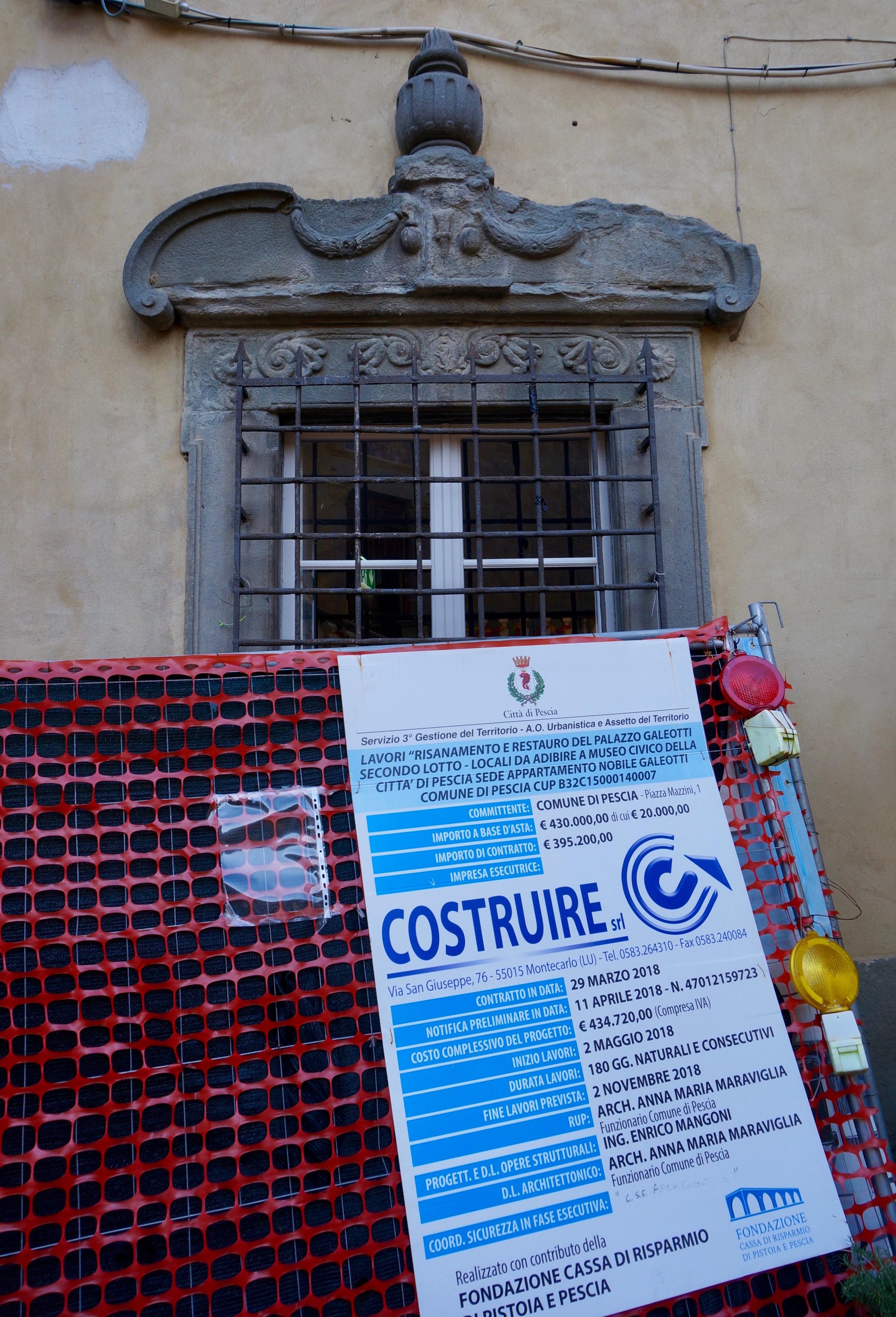 Palazzo Galeotti lavori nuovo museo civico Pescia