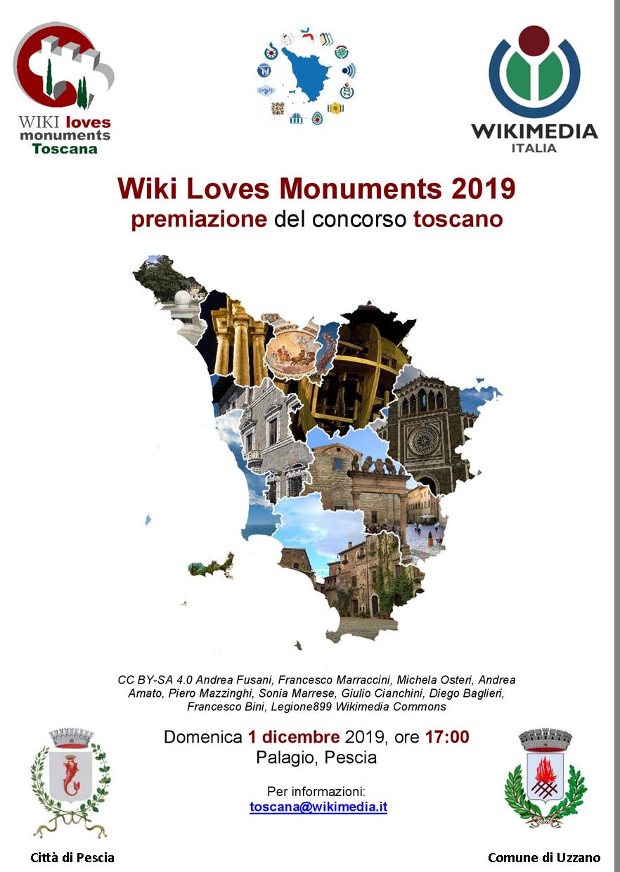 Volantino premiazione WLM2019 WIKI LOVES MONUMENTS CONCORSO FOTOGRAFICO Pescia