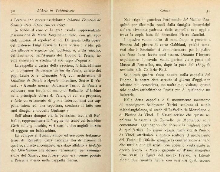 libro notizie madonna del baldacchino raffaello pescia