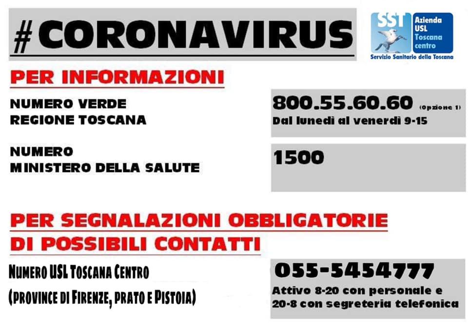covid19 numeri utili telefonici corona virus pescia