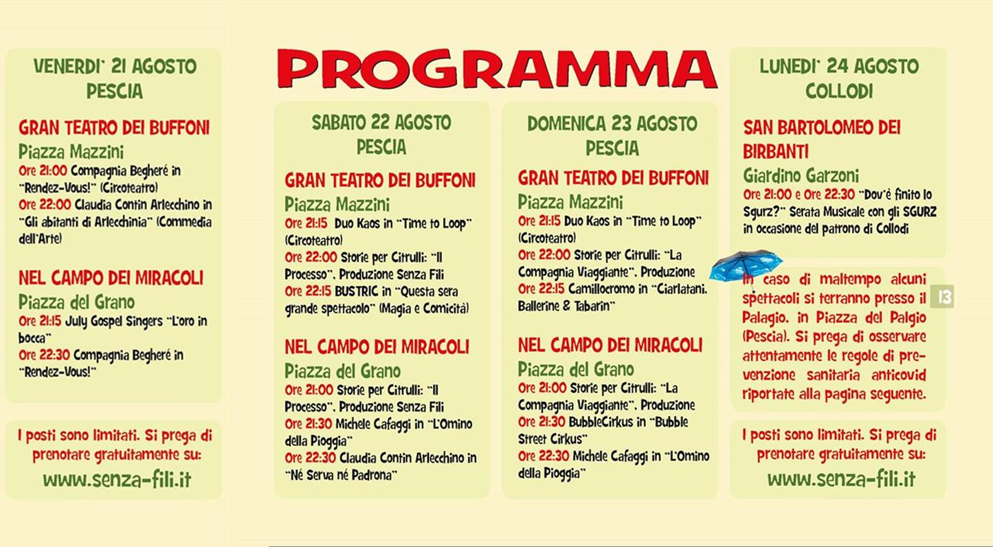 agosto programma completo pinocchio street festival senza-fili collodi pescia