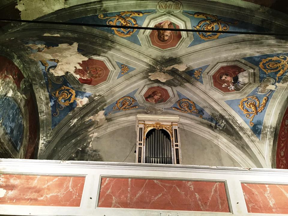 affreschi organo Oratorio S.Maria vergine chiesa Aramo percorsi storici Birindelli Pescia