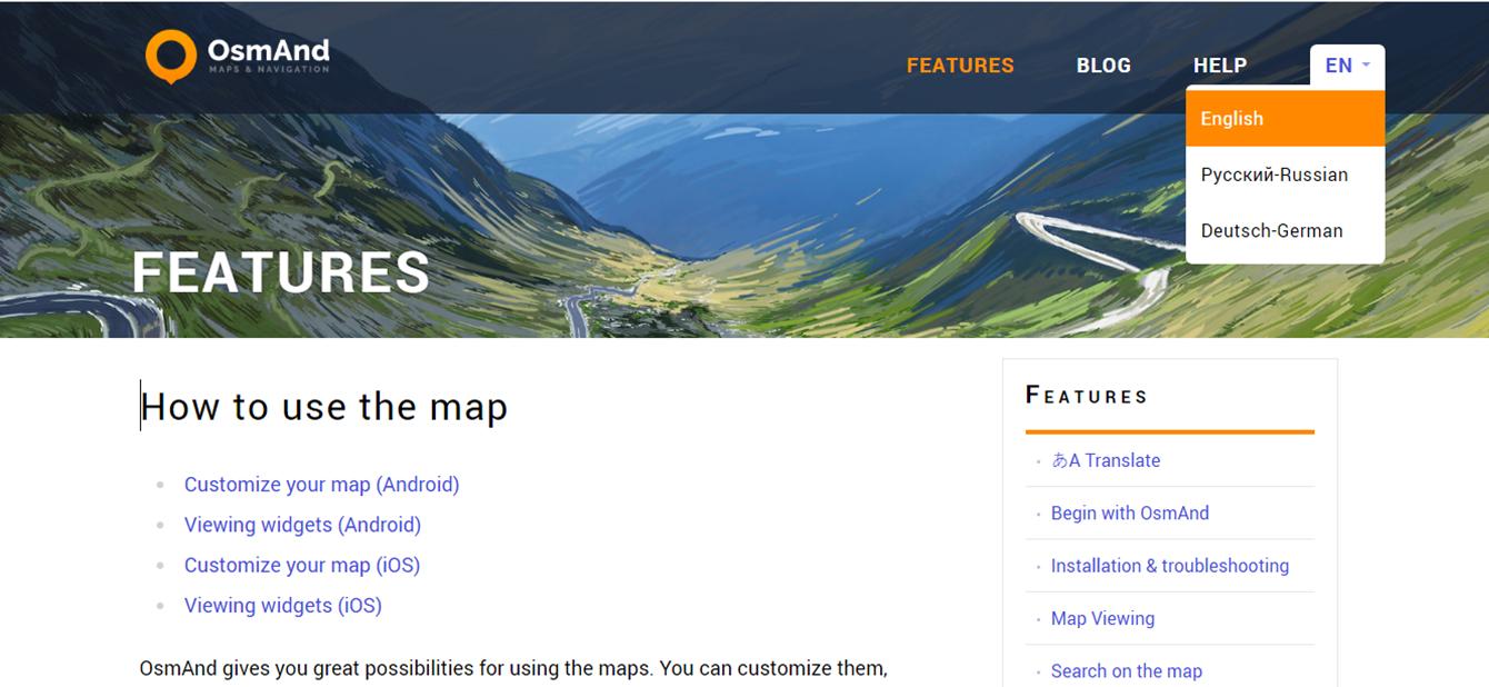 OsmAnd features mappe creazione percorsi trekking app pescia